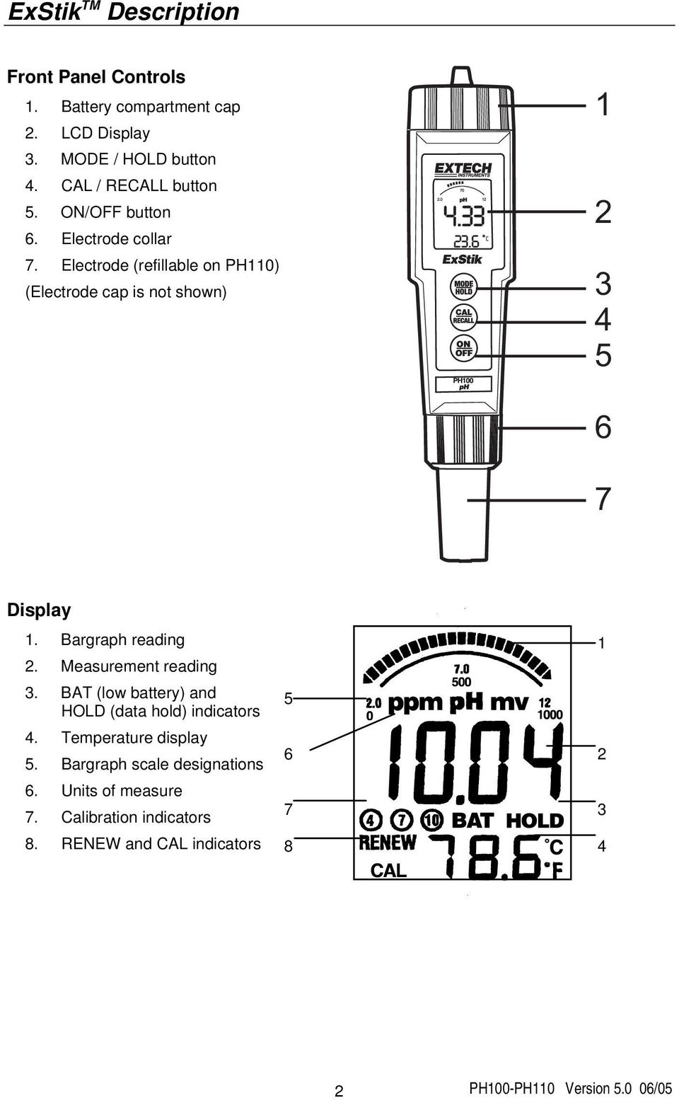 Electrode (refillable on PH110) (Electrode cap is not shown) 1 2 3 4 5 6 7 Display 1. Bargraph reading 2.