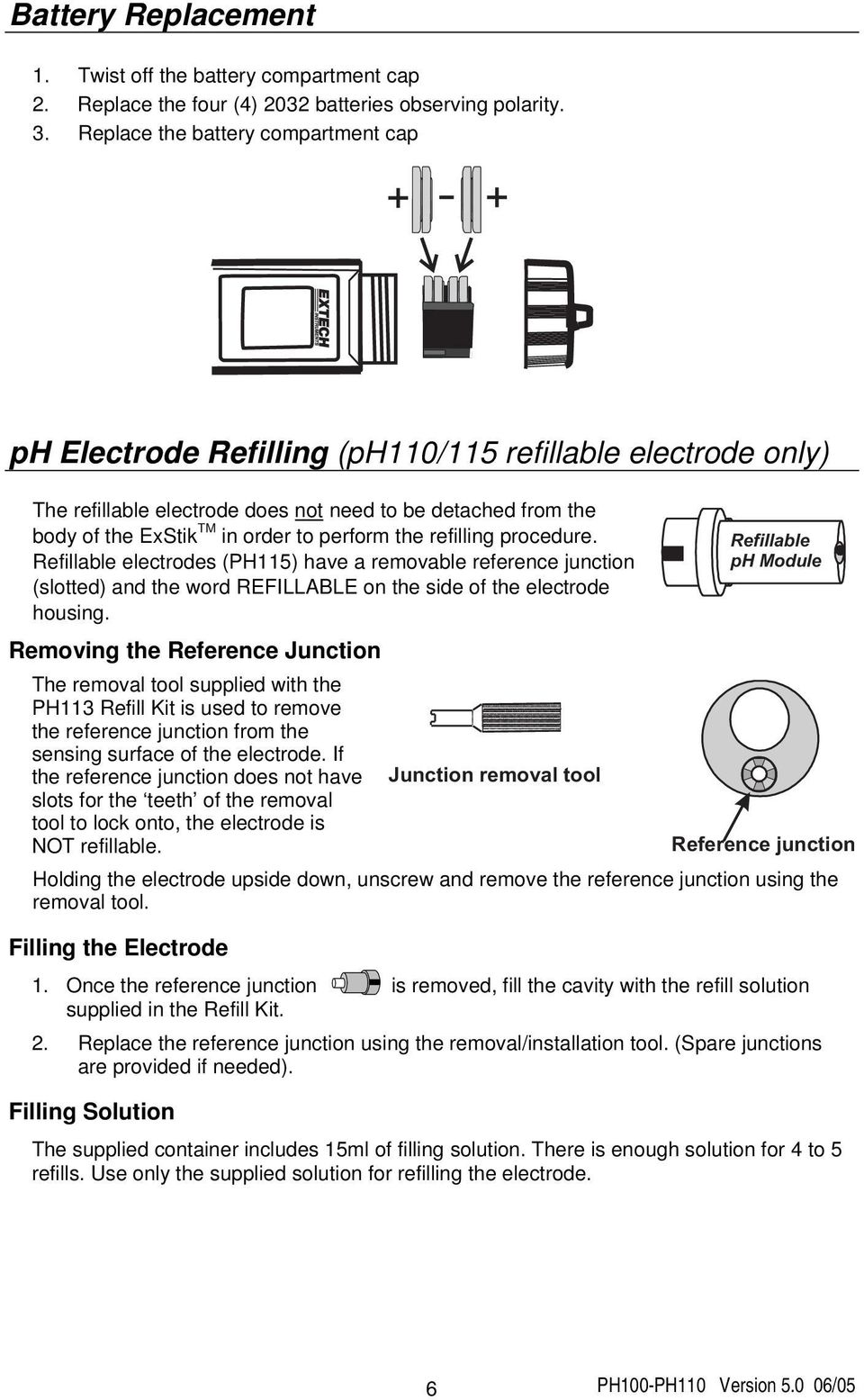 perform the refilling procedure. Refillable electrodes (PH115) have a removable reference junction (slotted) and the word REFILLABLE on the side of the electrode housing.