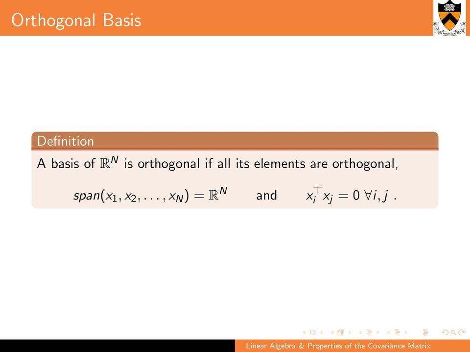 elements are orthogonal, span(x 1, x