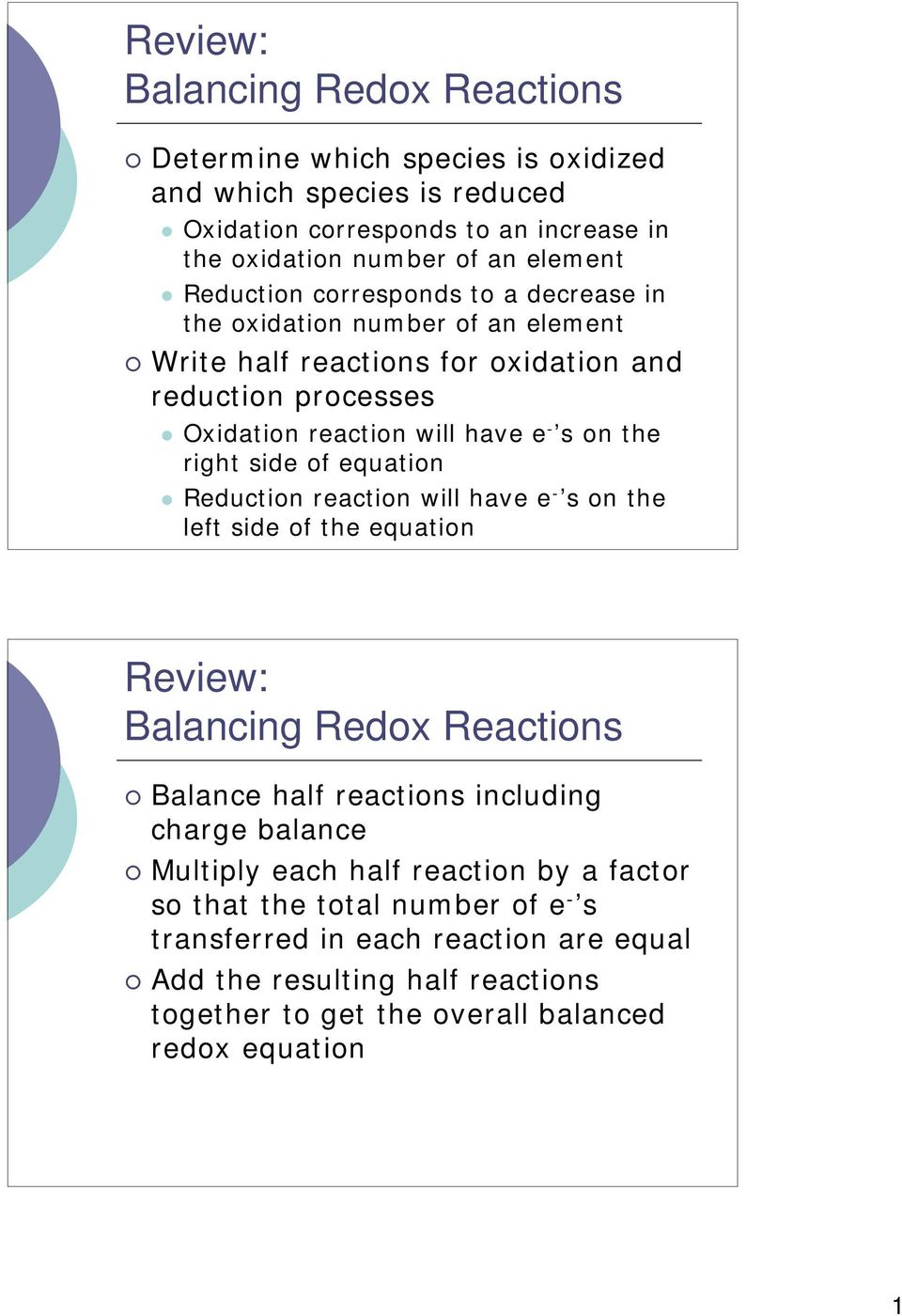 side of equation Reduction reaction will have e - s on the left side of the equation Review: Balancing Redox Reactions Balance half reactions including charge balance Multiply each