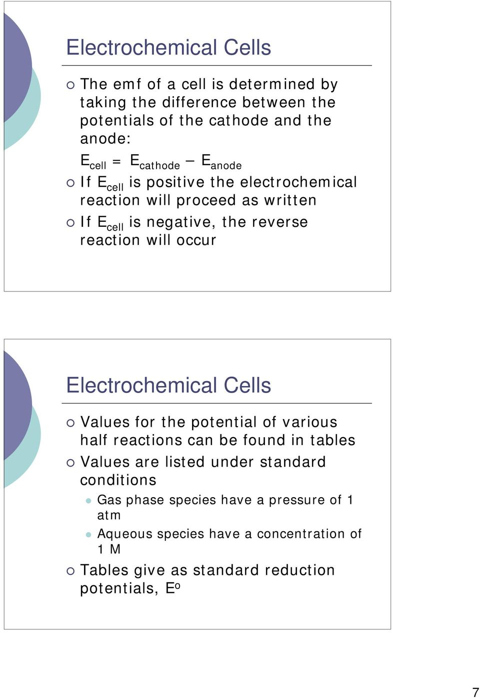 occur Electrochemical Cells Values for the potential of various half reactions can be found in tables Values are listed under standard