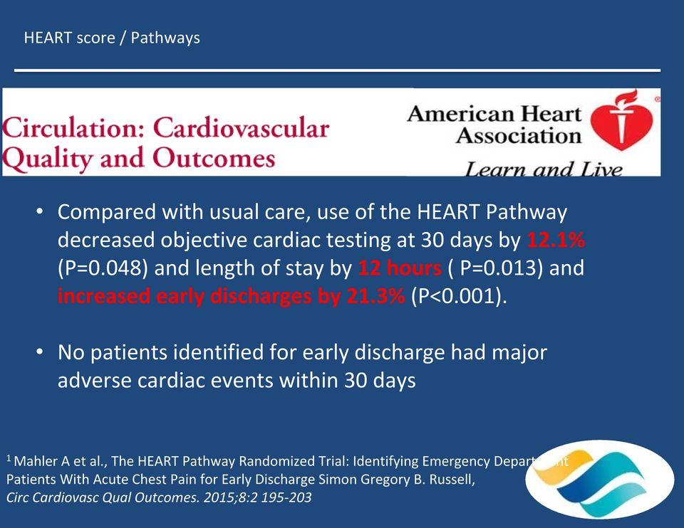 No patients identified for early discharge had major adverse cardiac events within 30 days 1 Mahler A et al.