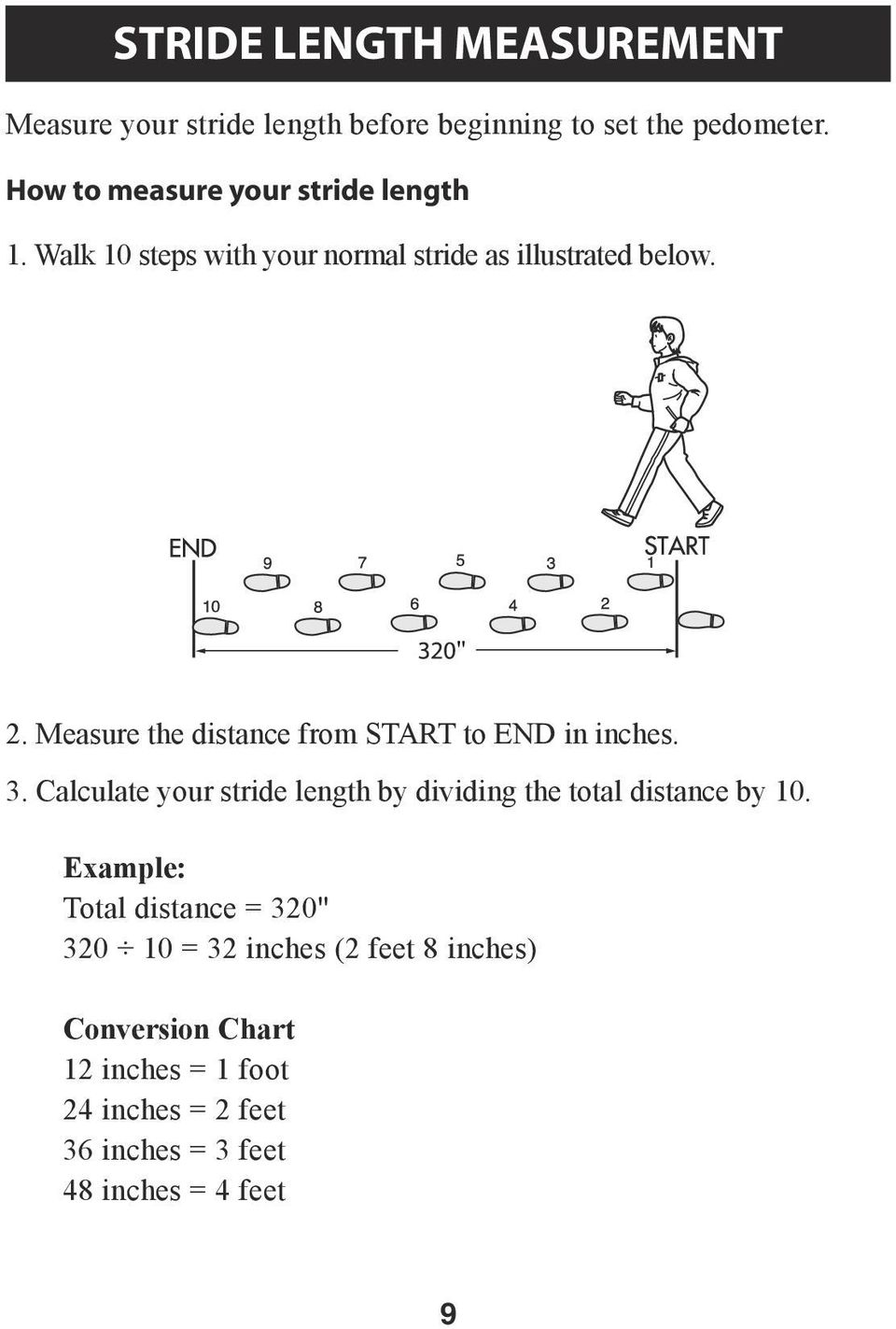 Measure the distance from START to END in inches. 3. Calculate your stride length by dividing the total distance by 10.