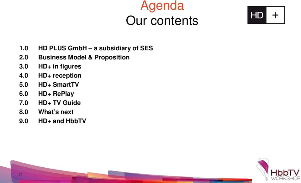 S 2.0 Business Model & Proposition 3.0 HD+ in figures 4.