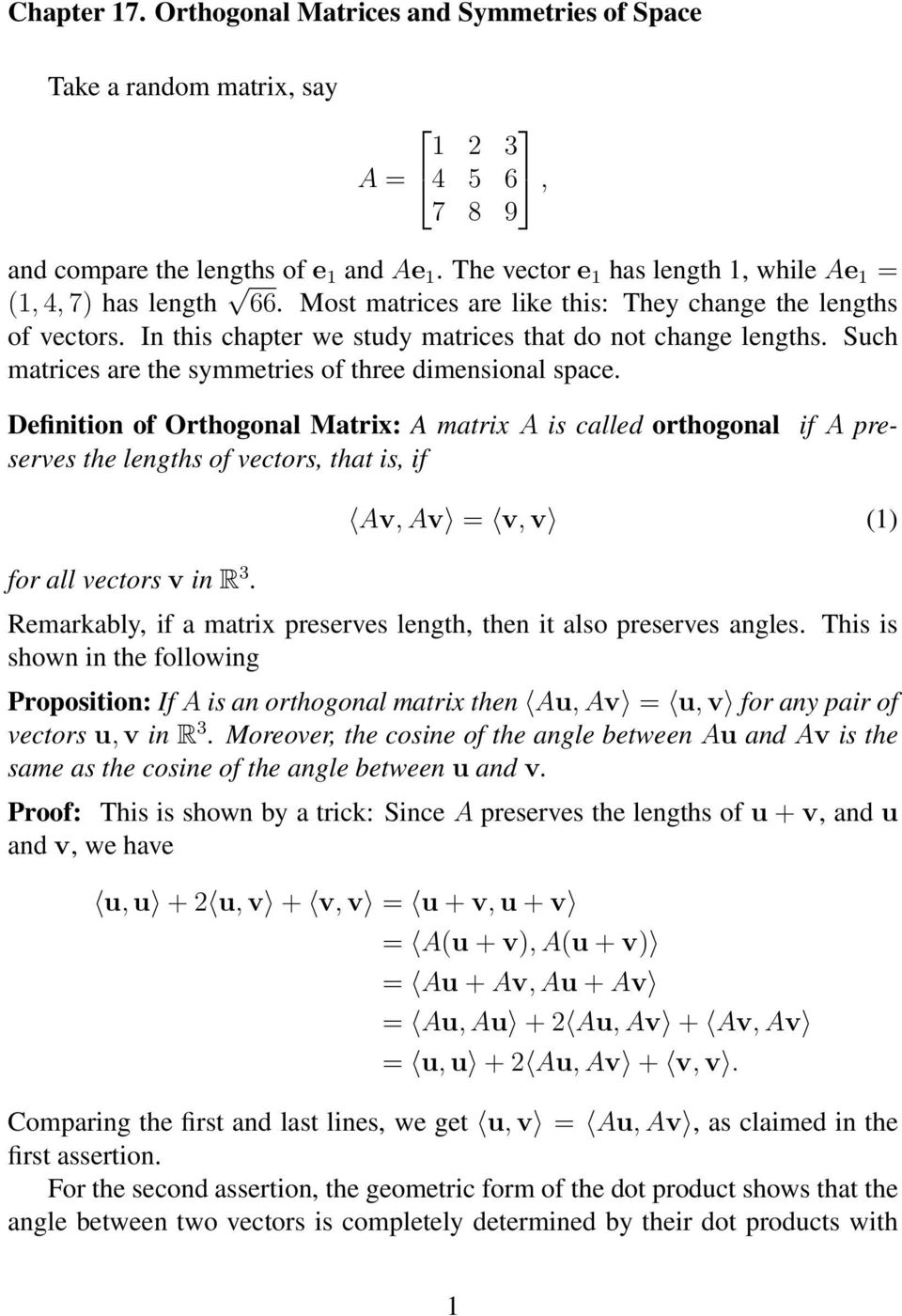 chapter 17 orthogonal matrices and symmetries of space pdf