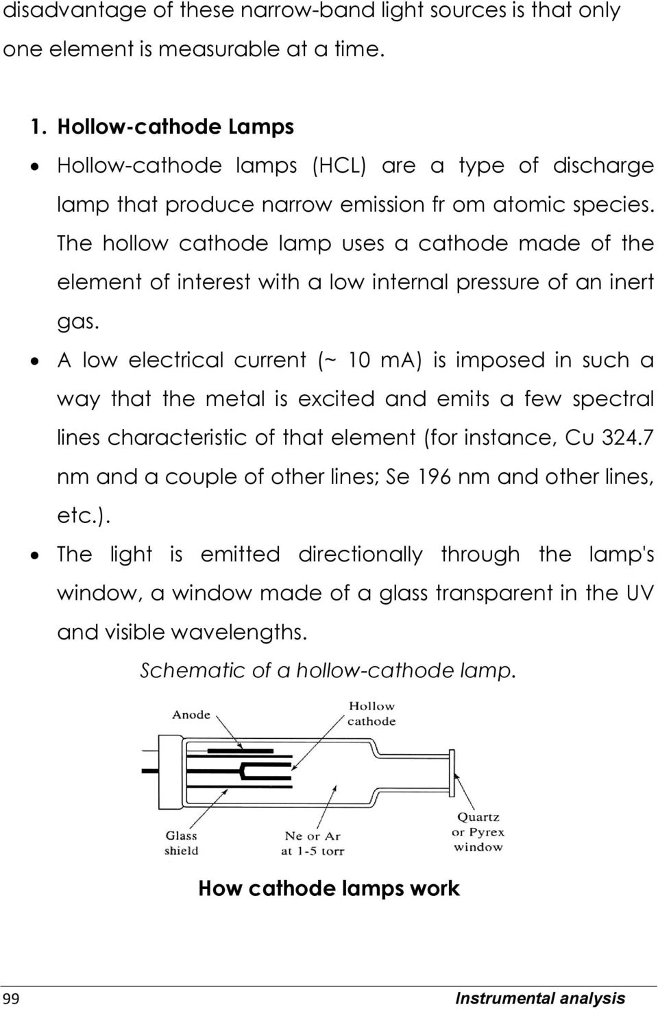 The hollow cathode lamp uses a cathode made of the element of interest with a low internal pressure of an inert gas.