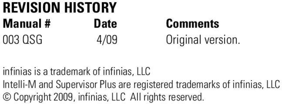 infinias is a trademark of infinias, LLC Intelli-M and