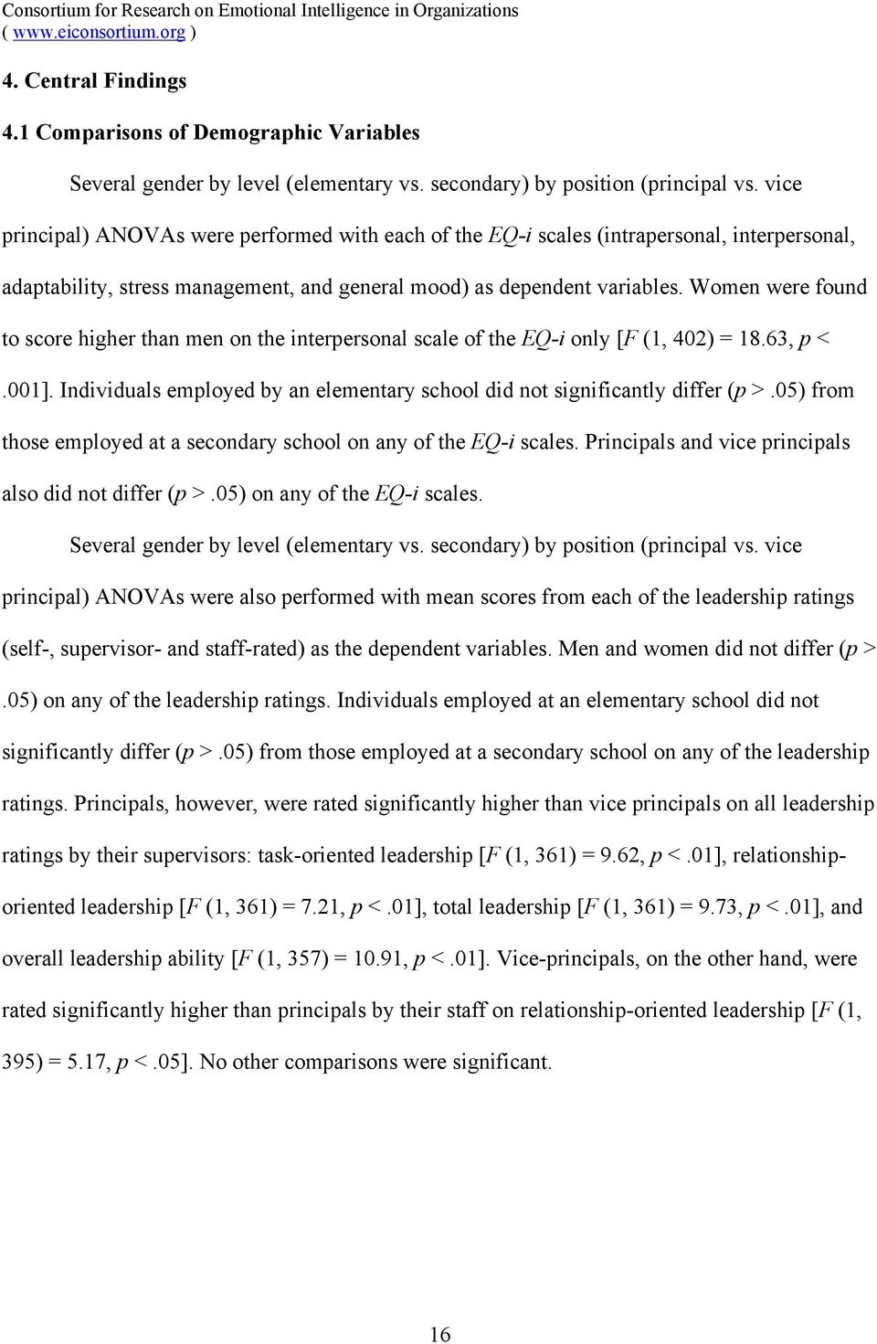 Women were found to score higher than men on the interpersonal scale of the EQ-i only [F (1, 402) = 18.63, p <.001]. Individuals employed by an elementary school did not significantly differ (p >.