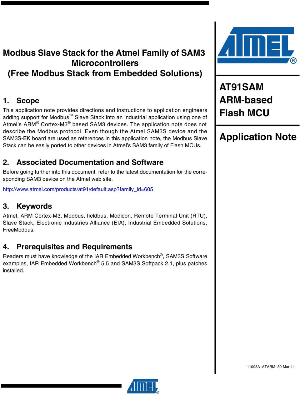 SAM3 devices. The application note does not describe the Modbus protocol.
