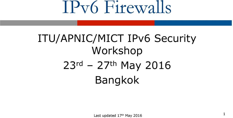 Security Workshop 23 rd 27