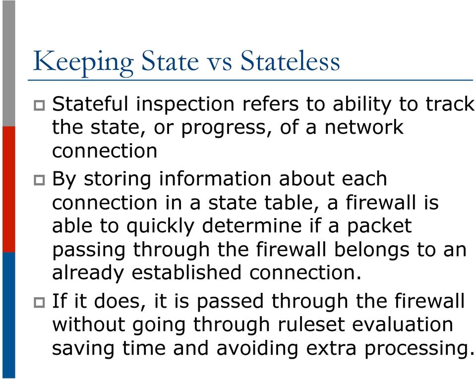 quickly determine if a packet passing through the firewall belongs to an already established connection.