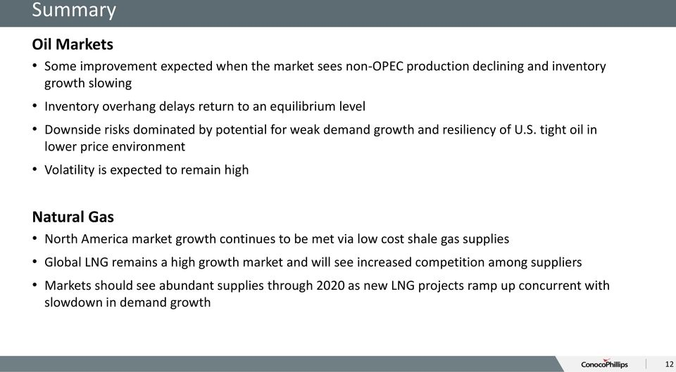 tight oil in lower price environment Volatility is expected to remain high Natural Gas North America market growth continues to be met via low cost shale gas