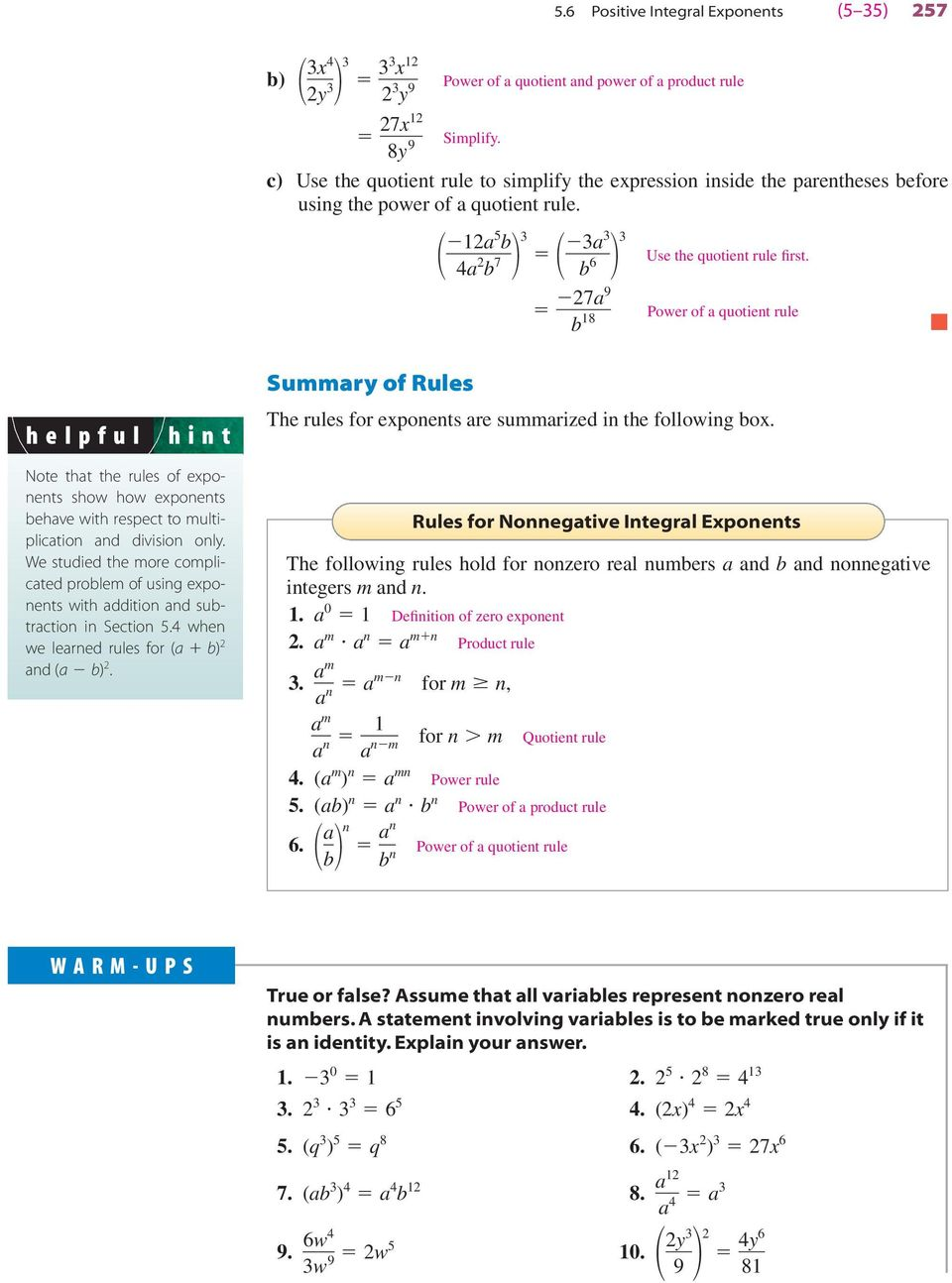 7 8 Power of quotient rule helpful hint Sury of Rules The rules for eponents re surized in the following o.