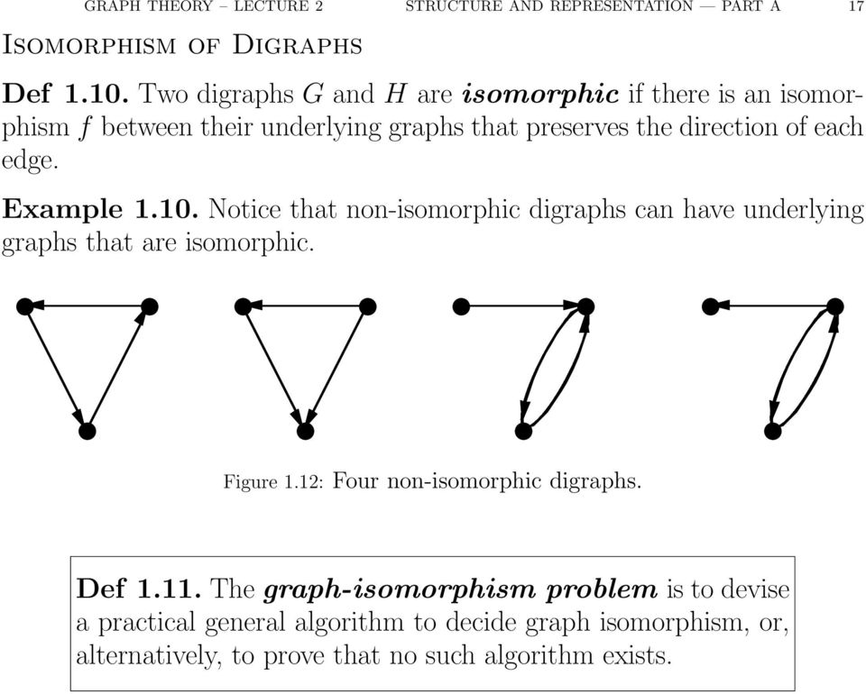 each edge. Example.0. Notice that non-isomorphic digraphs can have underlying graphs that are isomorphic. Figure.