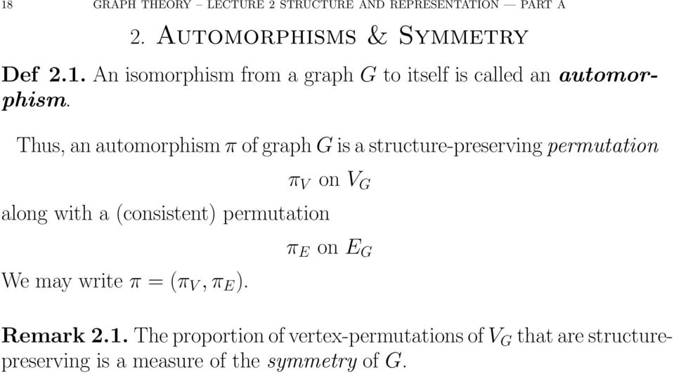Thus, an automorphism π of graph G is a structure-preserving permutation π V on V G along with a (consistent)