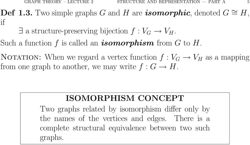 Such a function f is called an isomorphism from G to H.