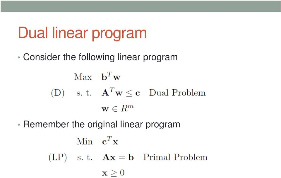 linear program Remember