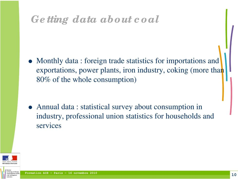 than 80% of the whole consumption) Annual data : statistical survey about