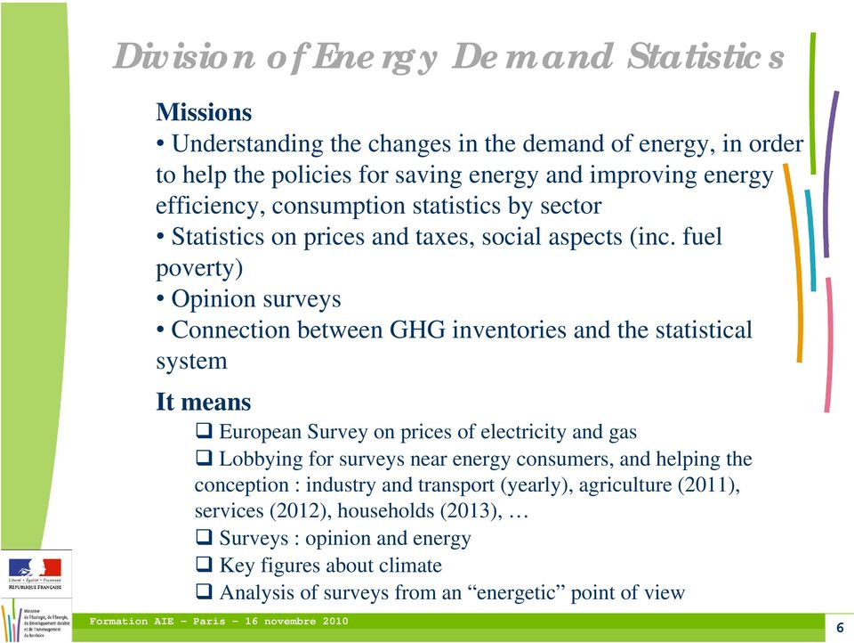 fuel poverty) Opinion surveys Connection between GHG inventories and the statistical system It means European Survey on prices of electricity and gas Lobbying for surveys