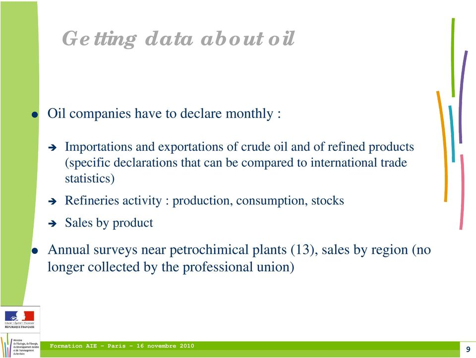 trade statistics) Refineries activity : production, consumption, stocks Sales by product Annual