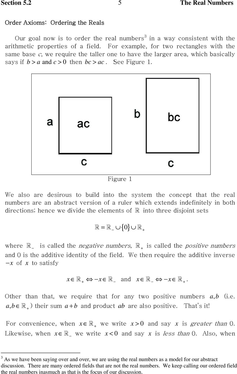Figure 1 We also are desirous to build into the system the concept that the real numbers are an abstract version of a ruler which extends indefinitely in both directions; hence we divide the elements