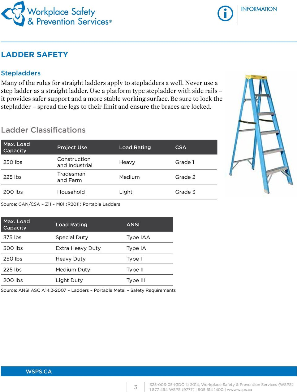 Be sure to lock the stepladder spread the legs to their limit and ensure the braces are locked. Ladder Classifications Max.