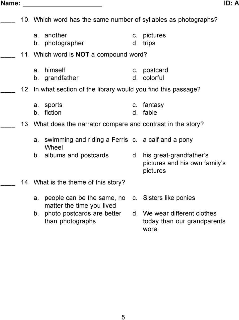 What does the narrator compare and contrast in the story? a. swimming and riding a Ferris c. a calf and a pony Wheel b. albums and postcards d.