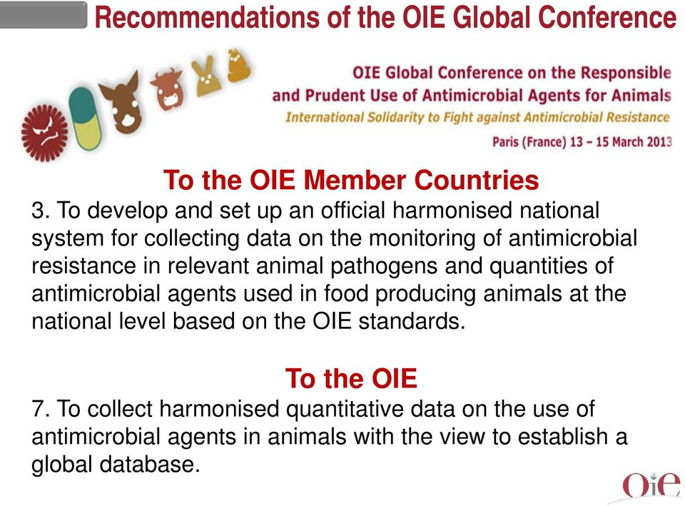 resistance in relevant animal pathogens and quantities of antimicrobial agents used in food producing animals at the