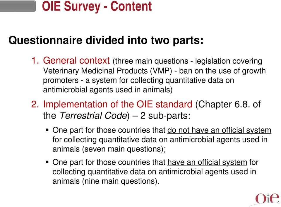 quantitative data on antimicrobial agents used in animals) 2. Implementation of the OIE standard (Chapter 6.8.