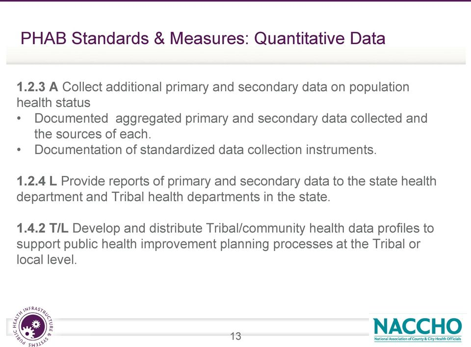 and the sources of each. Documentation of standardized data collection instruments. 1.2.