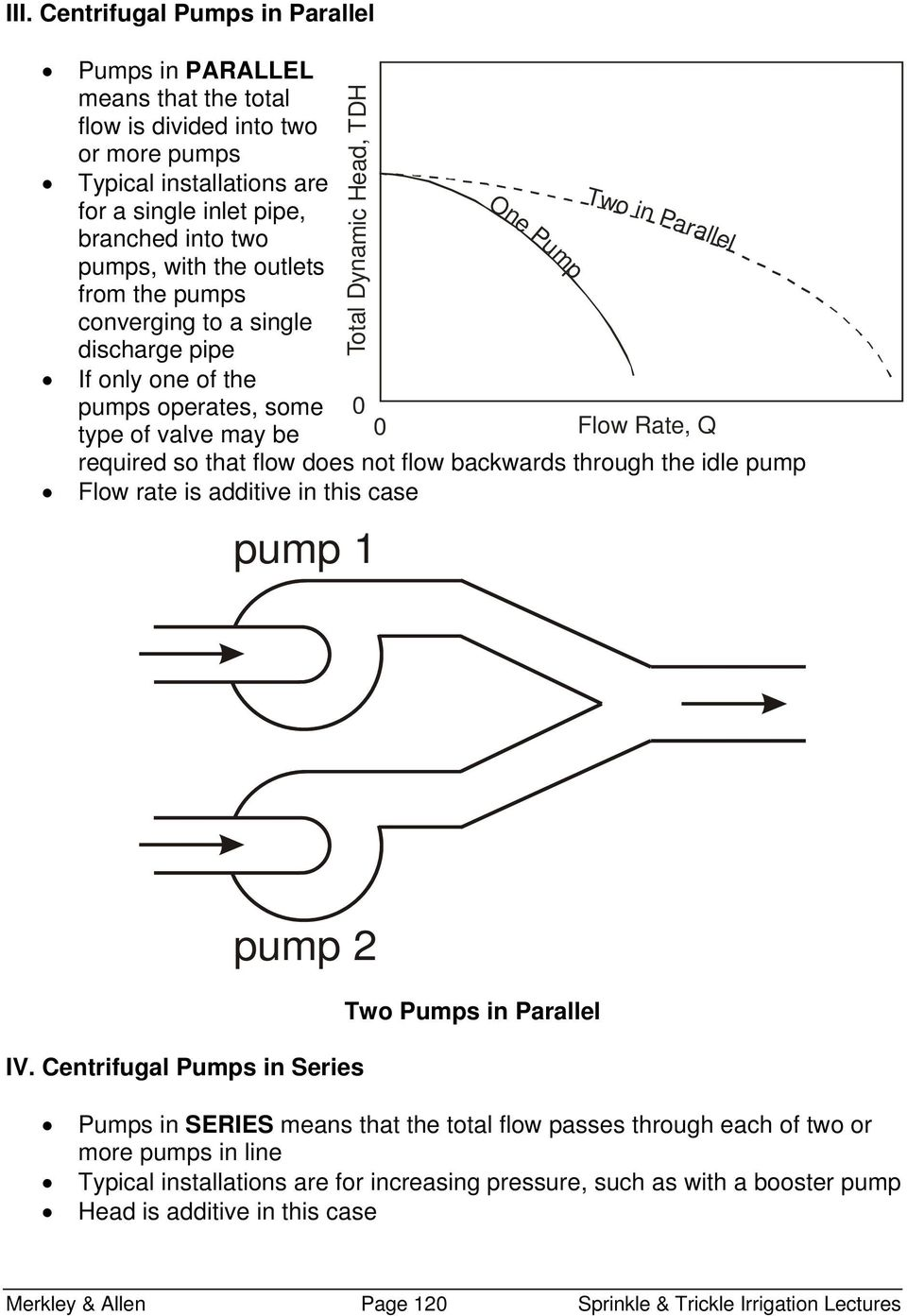 flow backwards through the idle pump Flow rate is additive in this case pump 1 One Pump Two in Par allel pump Two Pumps in Parallel IV.