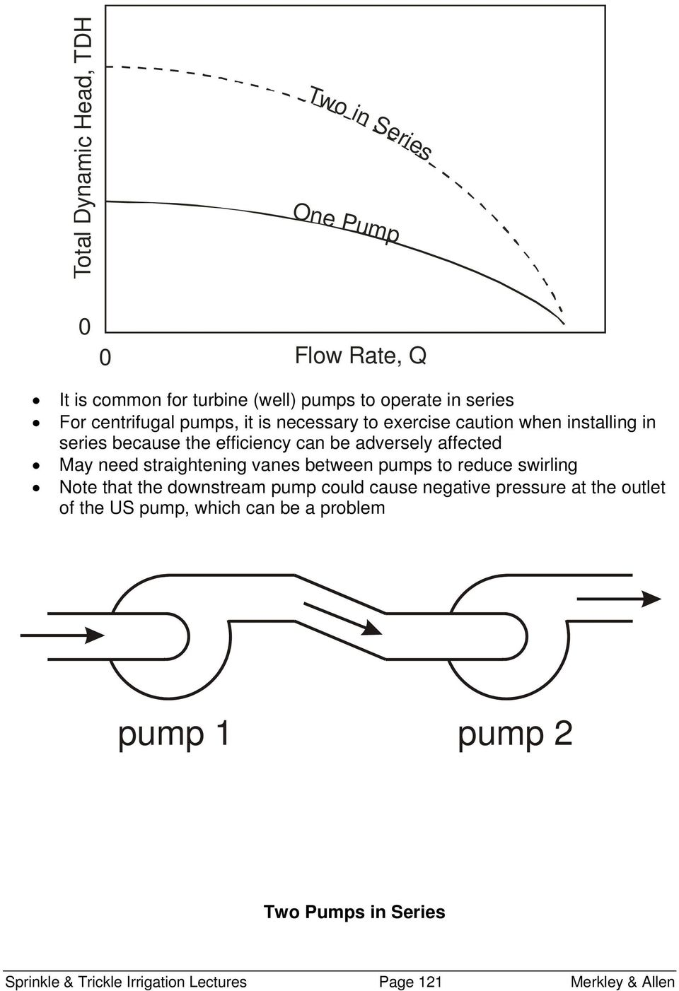 May need straightening vanes between pumps to reduce swirling Note that the downstream pump could cause negative pressure at the