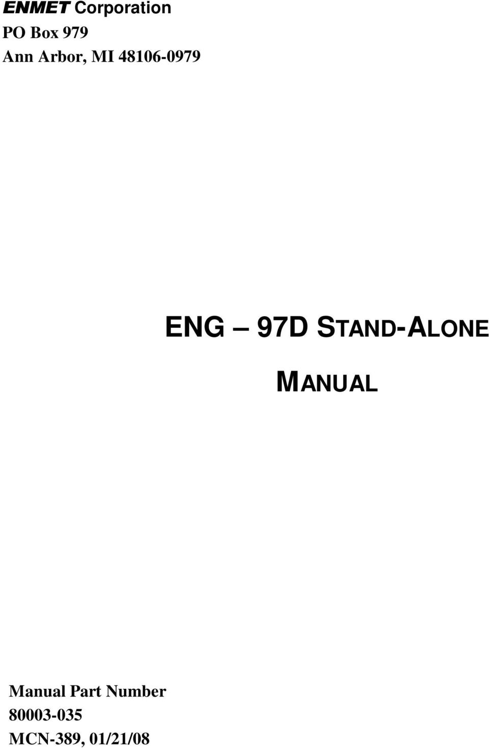 STAND-ALONE MANUAL Manual