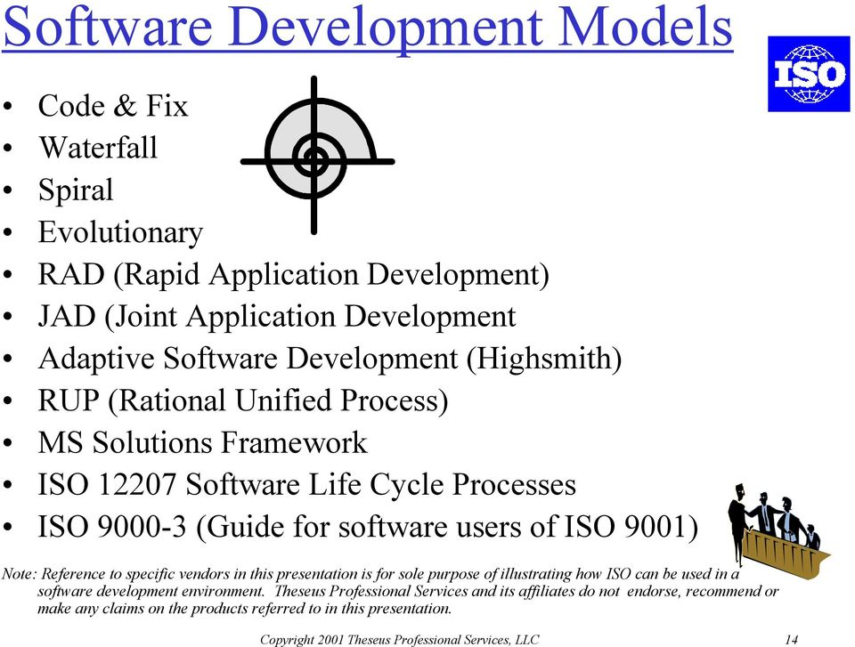 Note: Reference to specific vendors in this presentation is for sole purpose of illustrating how ISO can be used in a software development environment.