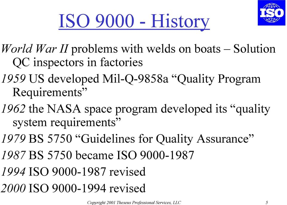quality system requirements 1979 BS 5750 Guidelines for Quality Assurance 1987 BS 5750 became ISO