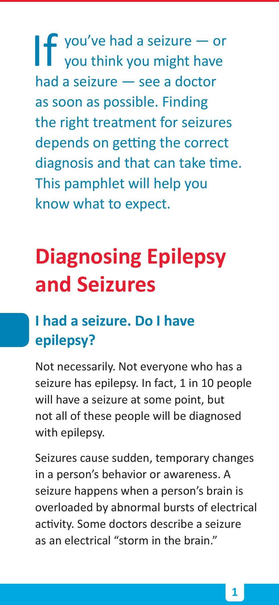 Diagnosing Epilepsy and Seizures I had a seizure. Do I have epilepsy? Not necessarily. Not everyone who has a seizure has epilepsy.
