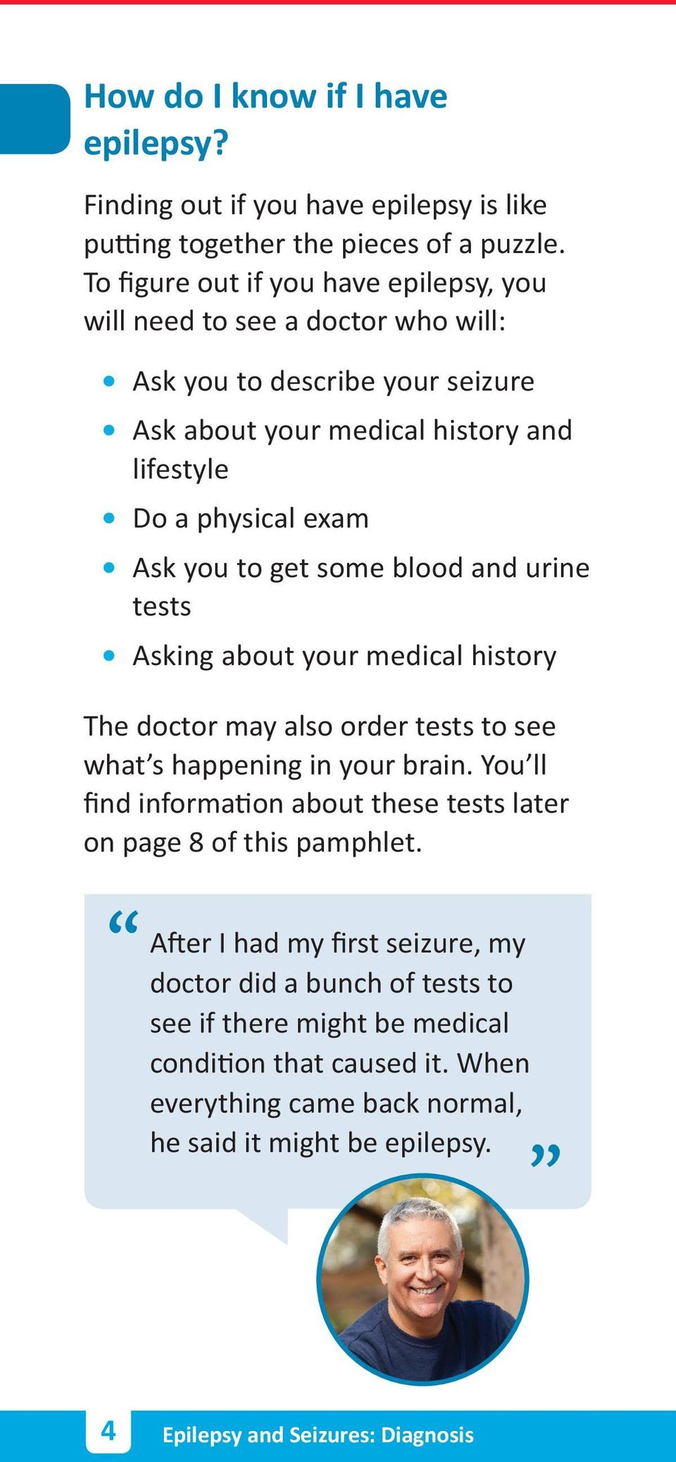 to get some blood and urine tests Asking about your medical history The doctor may also order tests to see what s happening in your brain.