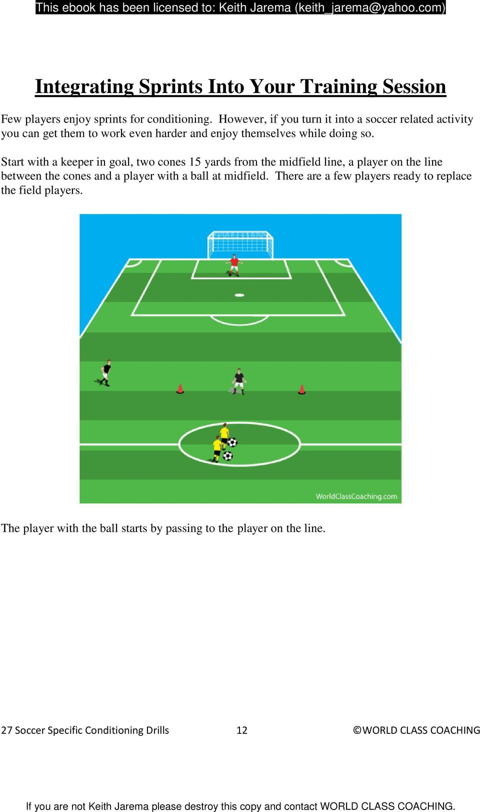 Start with a keeper in goal, two cones 15 yards from the midfield line, a player on the line between the cones and a player with a ball at