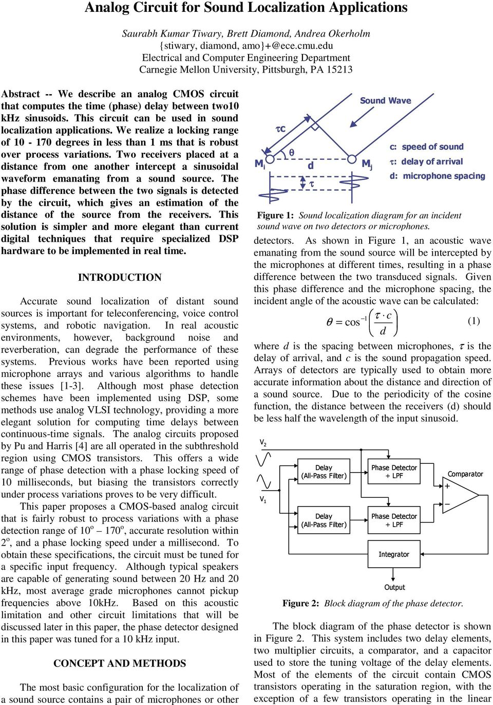 Title Analog Circuit For Sound Localization Applications Pdf Low Pass Filter Integrator Using Op Amp 741 Electronics This Can Be Used In We Realize A