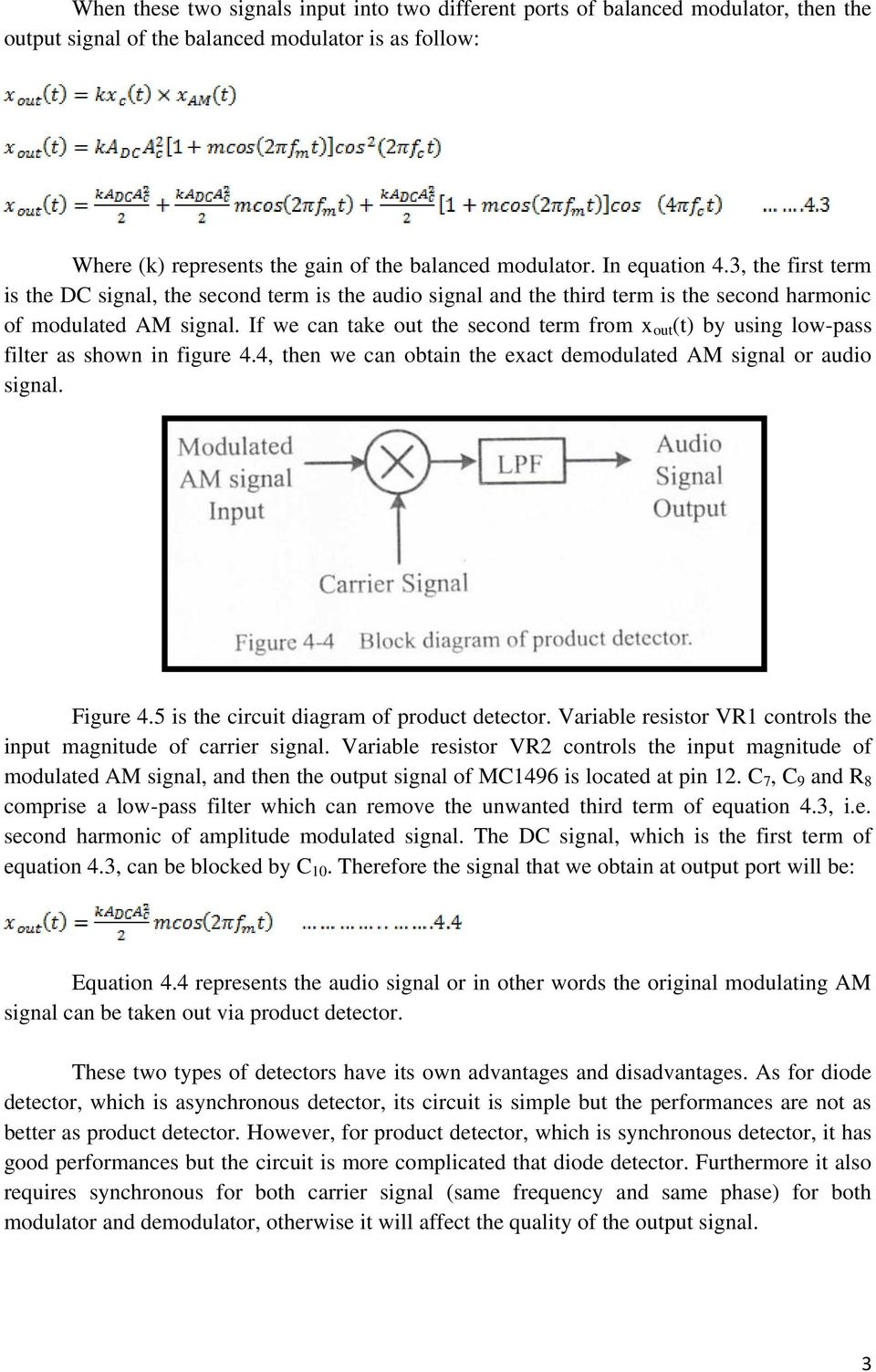 Experiment 4 Am Demodulator Pdf Simple Fm Circuit Diagram Electronic Diagrams If We Can Take Out The Second Term From X T By Using