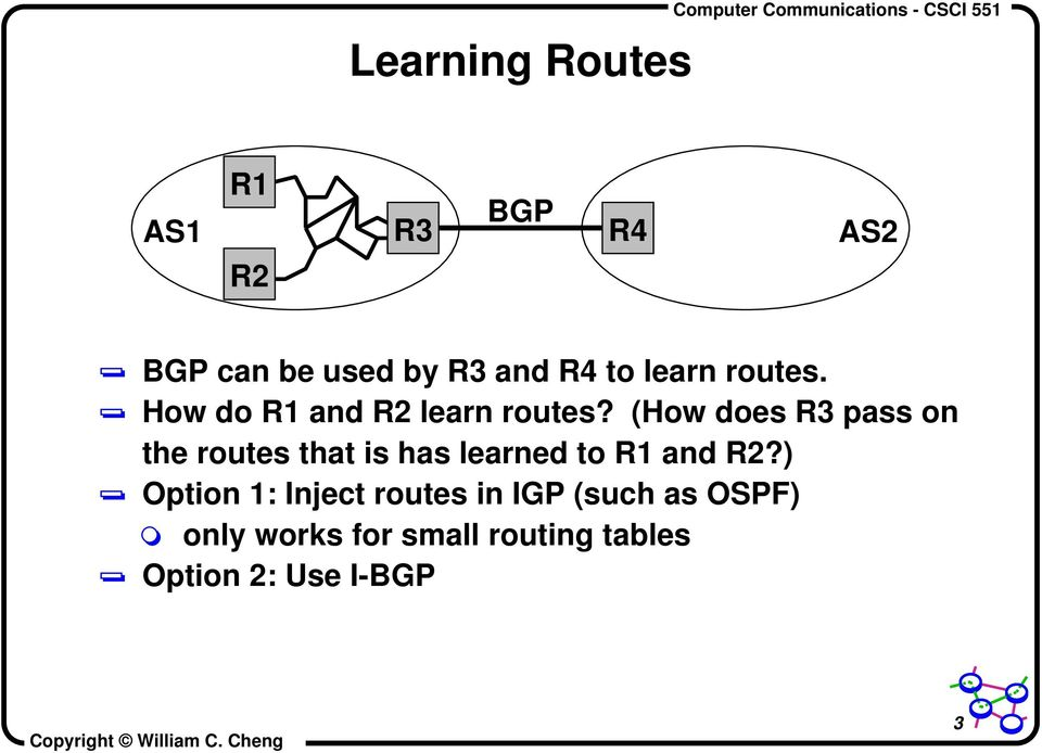 (How does R3 pass on the routes that is has learned to R1 and R2?
