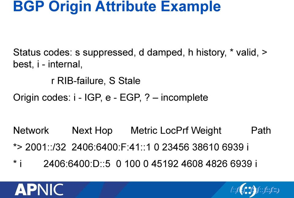 EGP,? incomplete Network Next Hop Metric LocPrf Weight Path *> 2001::/32