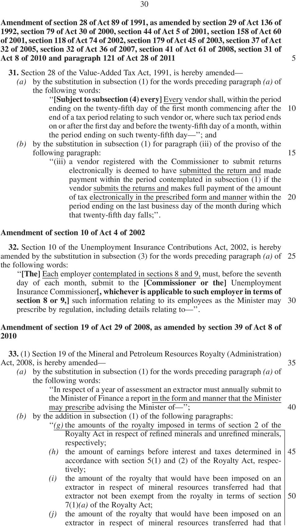 Section 28 of the Value-Added Tax Act, 1991, is hereby amended (a) by the substitution in subsection (1) for the words preceding paragraph (a) of the following words: [Subject to subsection (4)