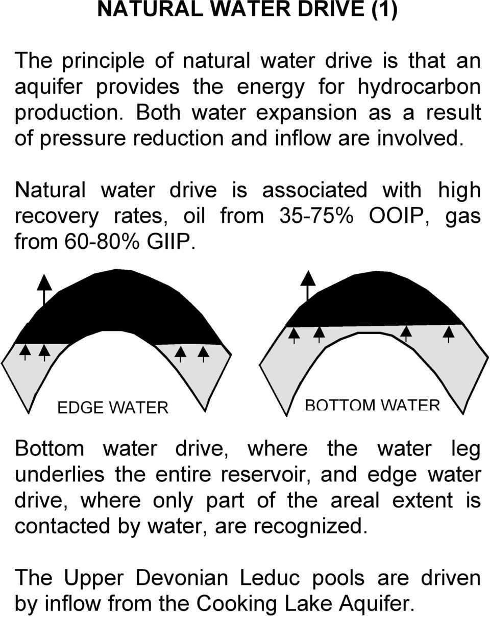 Natural water drive is associated with high recovery rates, oil from 35-75% OOIP, gas from 60-80% GIIP.