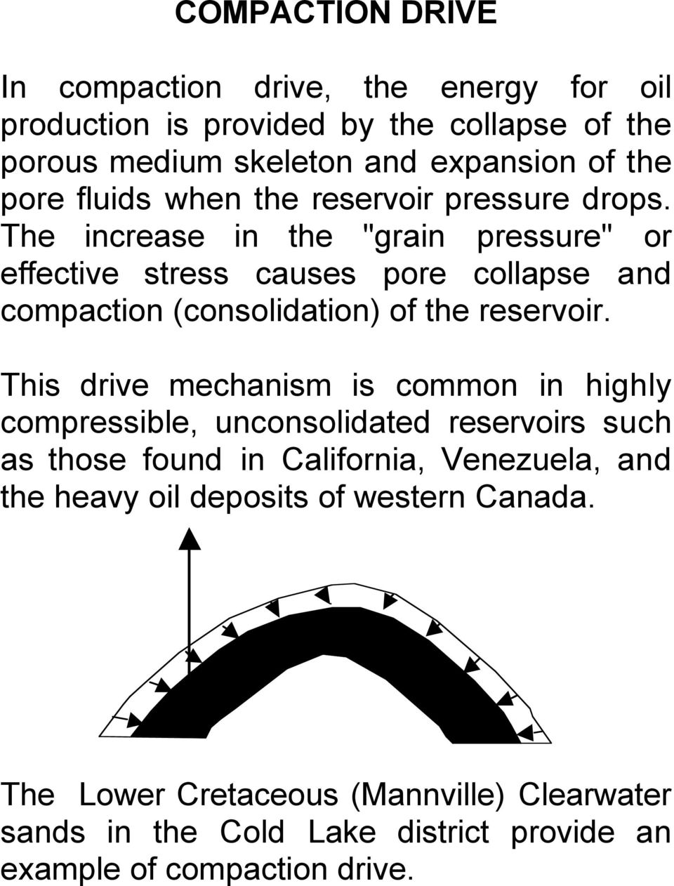 "The increase in the ""grain pressure"" or effective stress causes pore collapse and compaction (consolidation) of the reservoir."