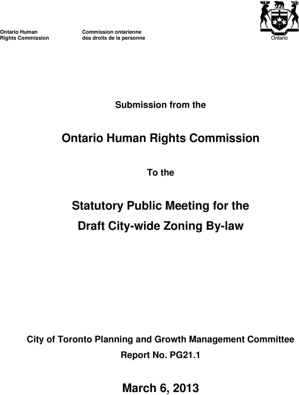 Meeting for the Draft City-wide Zoning By-law City of Toronto