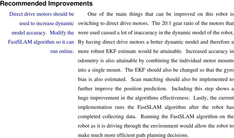 The 20:1 gear ratio of the motors that were used caused a lot of inaccuracy in the dynamic model of the robot.
