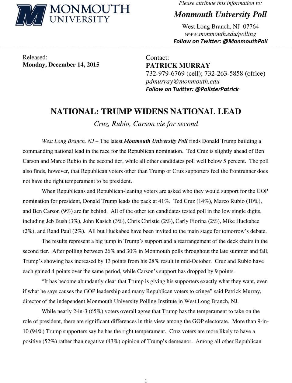 edu Follow on Twitter: @PollsterPatrick NATIONAL: TRUMP WIDENS NATIONAL LEAD Cruz, Rubio, Carson vie for second West Long Branch, NJ The latest Monmouth University Poll finds Donald Trump building a