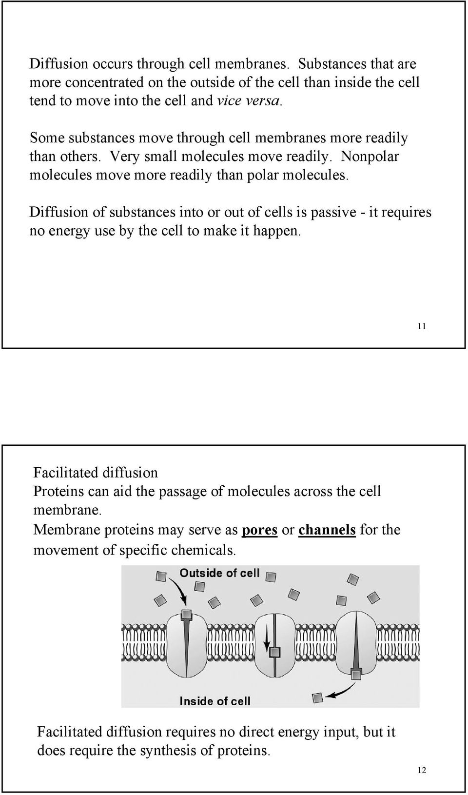 Diffusion of substances into or out of cells is passive - it requires no energy use by the cell to make it happen.