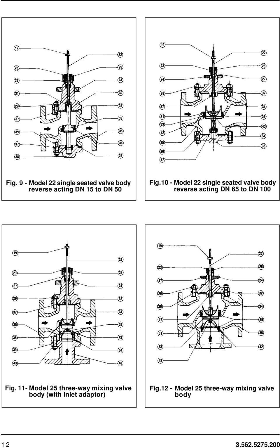10 - Model 22 single seated valve body reverse acting DN 65 to DN 100